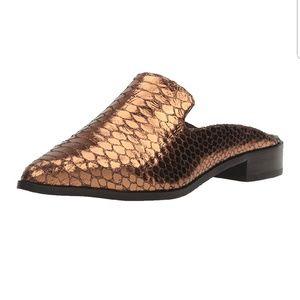 Shellys London Metallic Bronze Snakeskin Mule